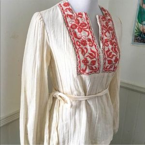 Vintage 1970s White Embroidered Orange Blouse